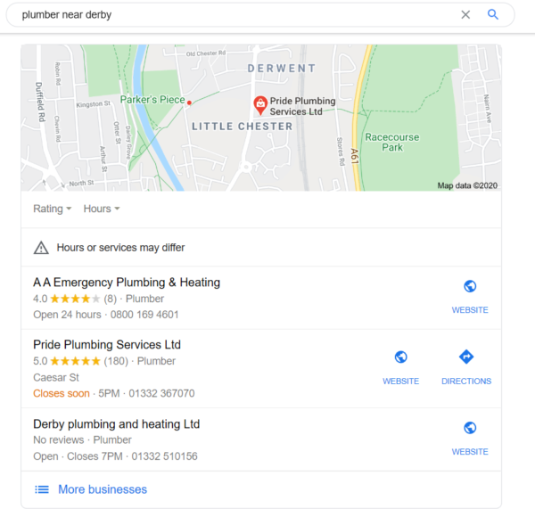 plumber-near-derby-google-my-business-local-pack